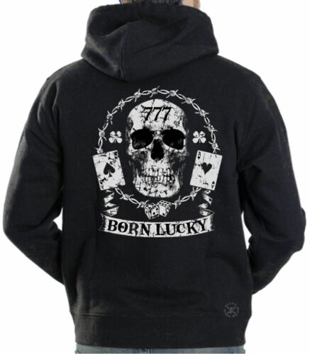 BORN LUCKY Hooded Sweat Shirt ~ 777 Skull Hoodie ~ Ace of Spades 4 Leaf Clover