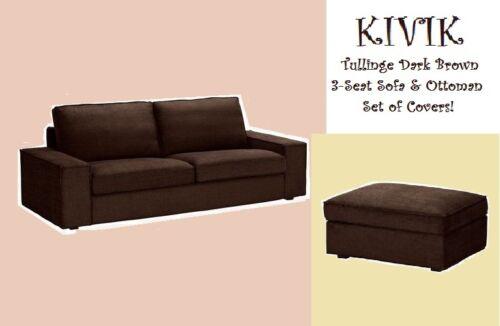 IKEA Kivik 3-Seat Sofa & Ottoman Tullinge Dark Brown Cover Footstool Slipcover-2