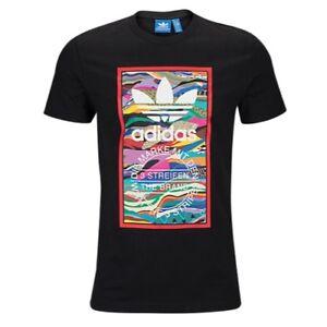 Neu-Herren-Adidas-Originals-Logo-T-Shirt-Top-Schwarz