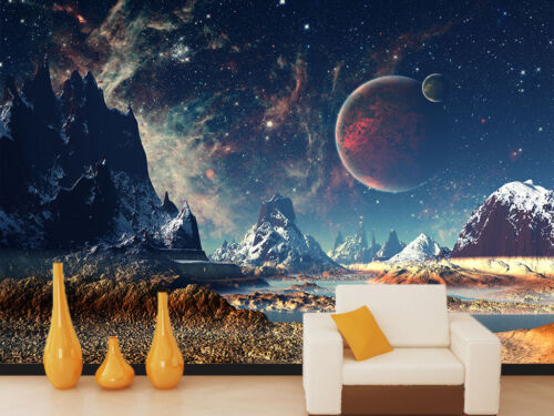 3D Espace Paysage 7 Photo Papier Peint en Autocollant Murale Plafond Chambre Art