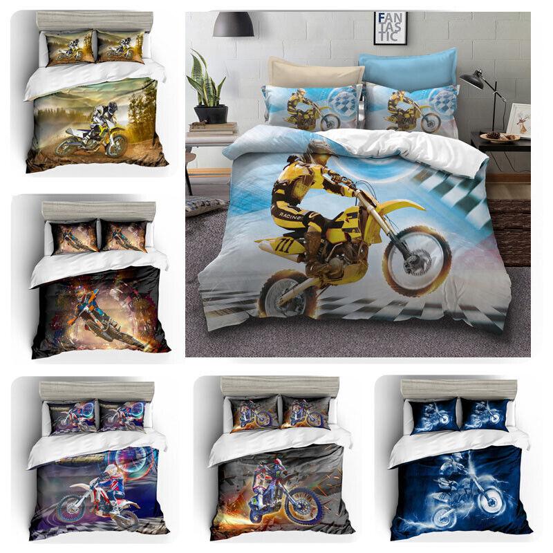Cool Motorcycle Racing Print Bedding Set Duvet Quilt Cover+Pillow Case AU EU US