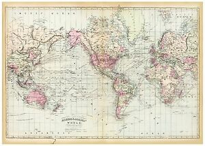 Vintage-Old-decorative-World-Map-Asher-amp-Adams-1874-paper-or-canvas