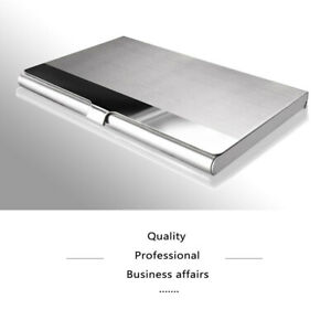 Card-Holder-Stainless-Steel-Metal-Business-ID-Credit-Gift-Silver-Sliding-Design