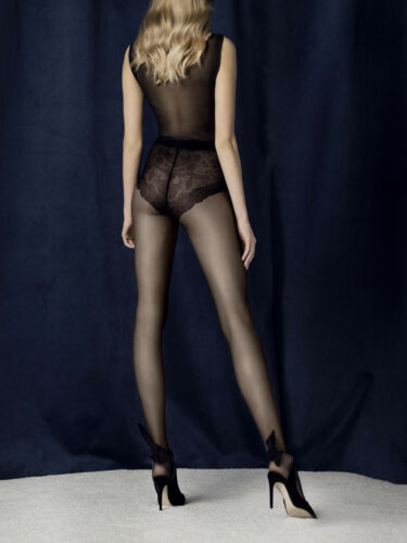 Fiore Charm Patterned Tights 20 Denier Floral Lace Patterned Bikini Brief