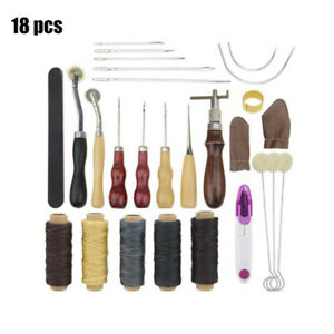 Leather-Craft-Punch-Tool-Kit-Stitching-Carving-Working-Sewing-Saddle-Groover-UK