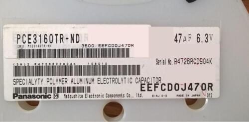ZH9  Lot of 25 pcs EEF-CD0J470R  Polymer Aluminum Capacitor 47uF 20/% 6.3V SMD