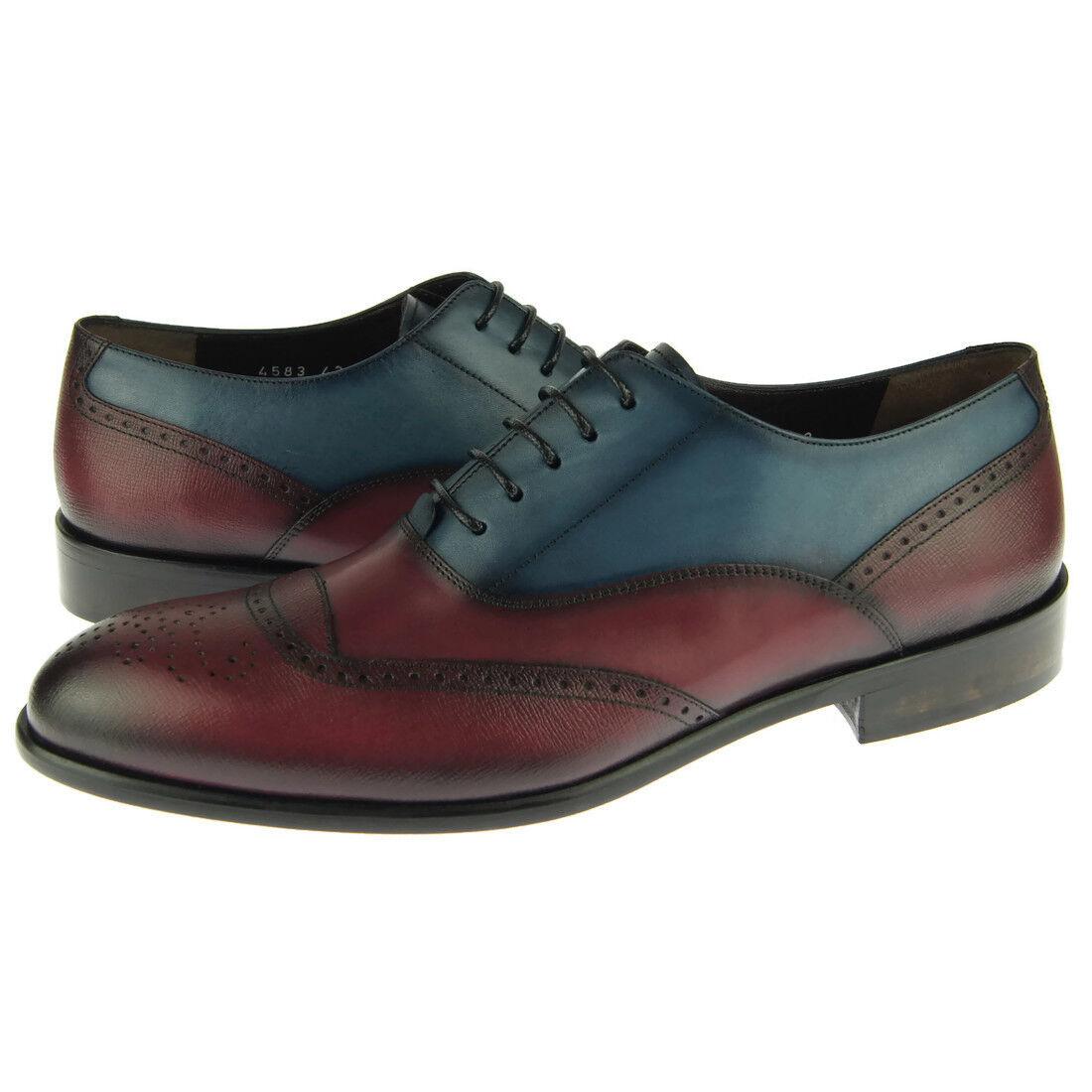 Zapatos de cuero Corrente 4583 Dual-Color Brogue Oxford, para hombres de vestir, azul Burdeos