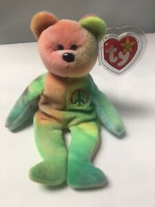 Peace-Bear-1996-Retired-Ty-Beanie-Babies-Original-Vintage-With-Errors