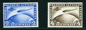 GERMANY SOUTH AMERICA  FLIGHT ZEPPELINS SCOTT# C38/39 SET MINT HINGED-