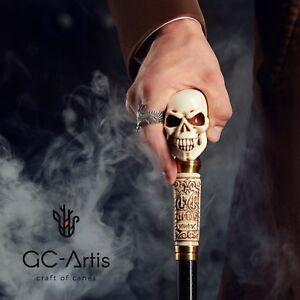 Skull-Walking-Stick-Cane-Knob-Goth-Folding-festival-costume-party-accessory-art
