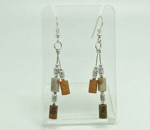 Gorgeous-Studio-Crafted-Sterling-Silver-Mixed-Jasper-Tribal-Double-Drop-Earrings