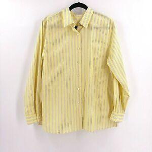 Foxcroft-Women-039-s-Shirt-Blouse-Size-14-Yellow-Striped-Long-Sleeve-Wrinkle-Free
