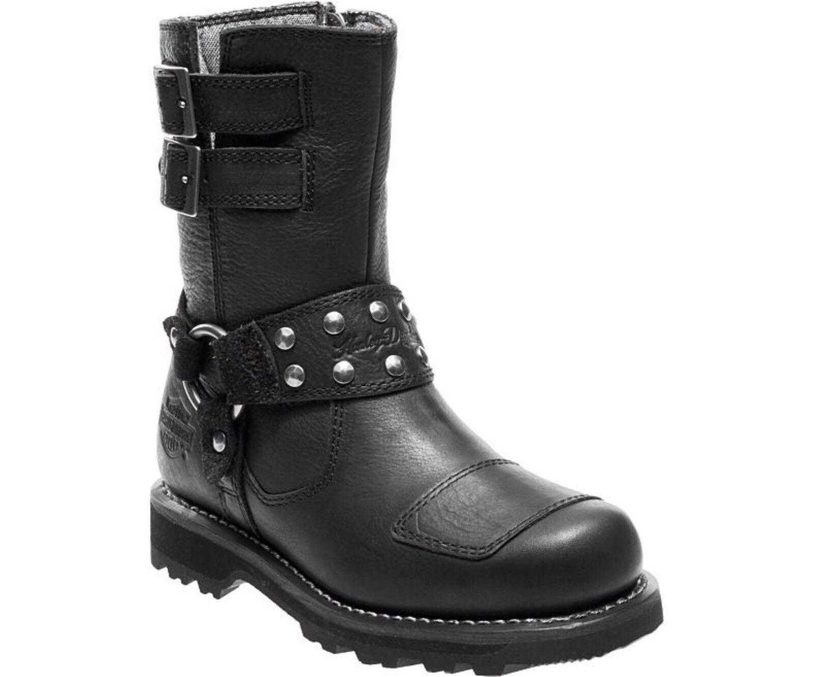 Harley Davidson Marmora Ladies Mid Calf Black Leather Biker Boots Buckle Zip Up