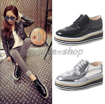 Ladies Patent Leather Square Lace Up Punk Platform Brogue Oxford Creepers Shoes