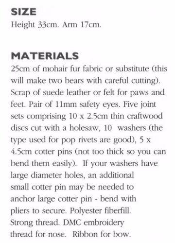 Pequeño 33 cm pie Articulado Oso patrón de costura S10063-no artículo terminado