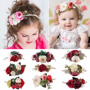 3Pcs-Baby-Girl-Flower-Headband-Garland-Hair-Band-Elastic-Wreath-Headwear-New