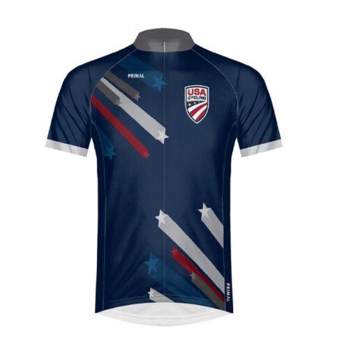 Primal Wear USA Cycling Stars /& Stripes Men/'s Full Zip Sport Cut Cycling Jersey