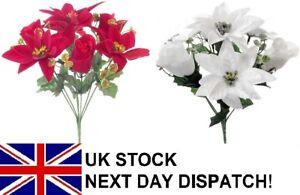 30cm Poinsettia Rose Gold Silver Glitter Bouquet Flower Christmas