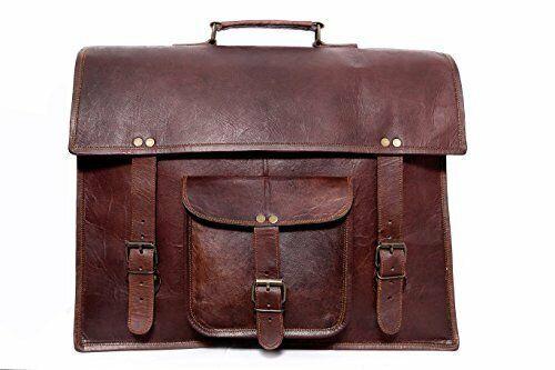 """Men/'s Genuine Vintage Dashing Leather 18/"""" Messenger Laptop Briefcase Satchel Bag"""