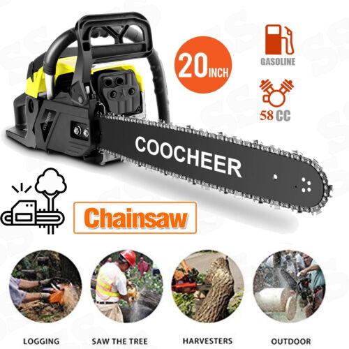 "COOCHEER 20/"" Bar 58CC Chainsaw 2Stroke Gasoline Gas Powered Chain Saw Crankcase"