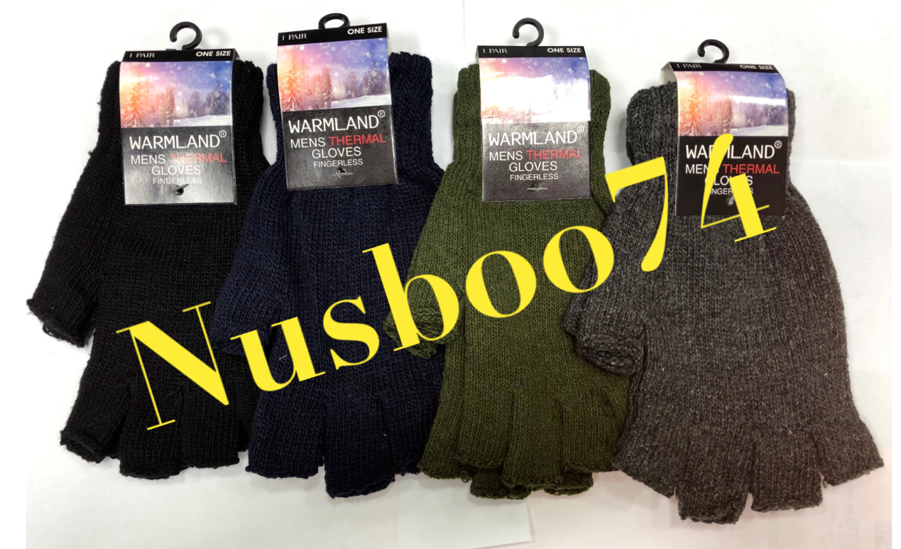 Mens Knitted Outdoor Warmland Thermal Gloves Fingerless Style 18SZ150