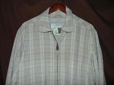 Tommy Bahama Size MEDIUM Tan Plaid Silk/Linen Blend Full Zip Lined EUC Jacket!