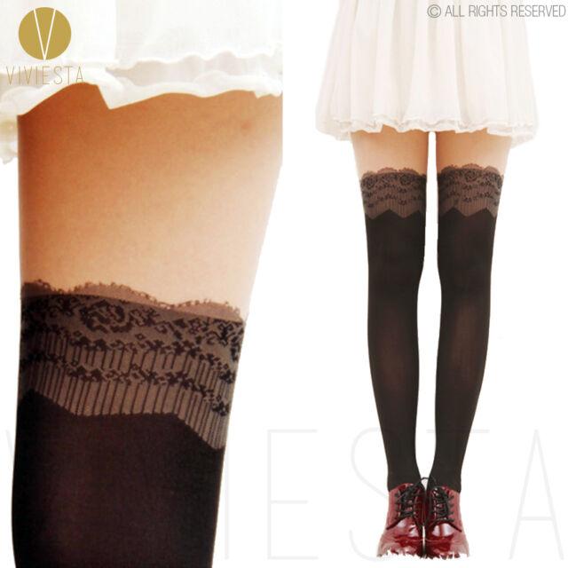 LACE MOCK OVER THE KNEE TIGHTS - Vintage Cute Crochet Suspender Medias Pantyhose