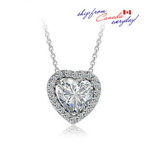 S925 Sterling Silver Heart Shaped Super Shining CZ Stone Necklace/18k GP
