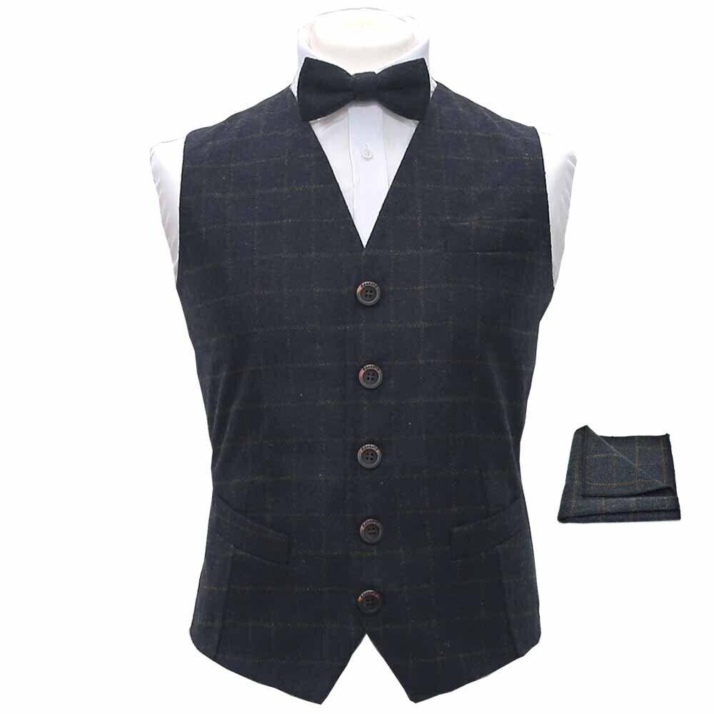 Heritage Check Navy Blue Waistcoat, Bow Tie & Pocket Square Set
