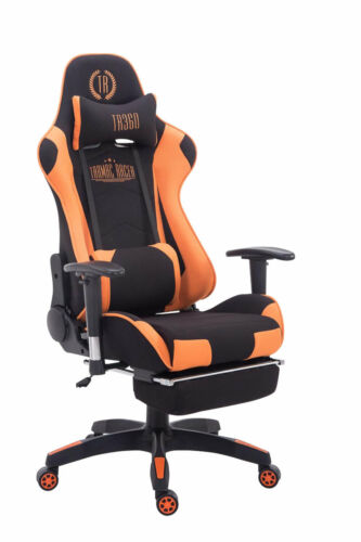 Chefsessel schwarz orange Stoffbezug Bürostuhl Kopfstütze Fußstütze Zocker Gamer