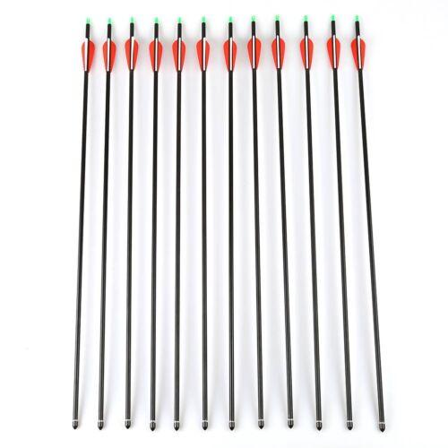 """12pcs 30/"""" Replaceable Carbon Arrows Shaft Plastics Fletching Arrows Compound Bow"""