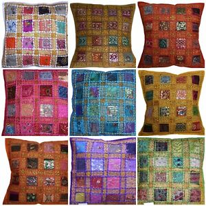 Cushion-Covers-16-034-x16-034-Indian-Heavy-Embroidery-Sari-Patchwork-Square-zip-40cm