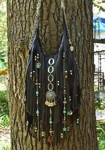 Fringe-Purse-Umber-Brown-Leather-Handmade-Embellished-Art-Bag-By-ShellB