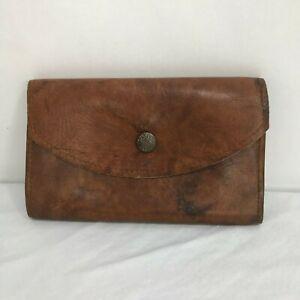 Vintage-Worn-Soft-Leather-Brown-Suede-Folding-Wallet-Snap-Closure-Hippie-Boho