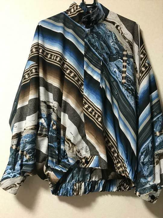 ISSEY MIYAKE MEN 2018SS STAND COLLAR SHIRT SIZE1 blueE MULTI COLOR FROM JAPAN F S