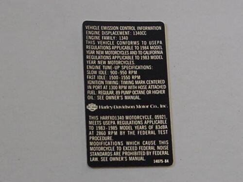 Harley NOS Decal Emission Control Info 1984 FXD 1340  14075-84