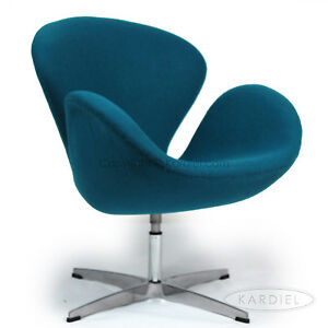 Swan chair caribbean cashmere wool danish modern accent for Arne jacobsen nachbau