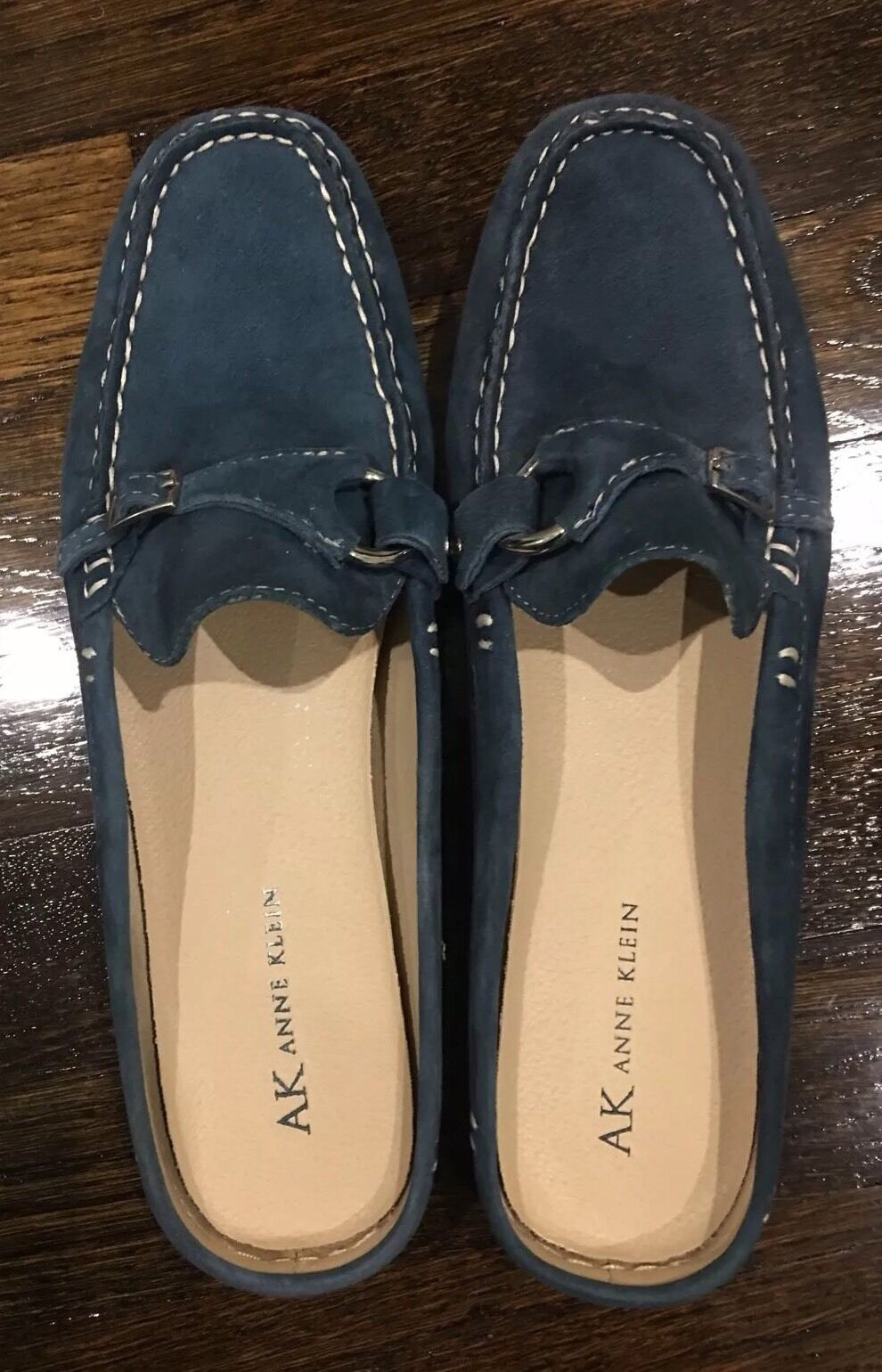 Anne Klein Nadine Navy Leather Suede Size Open Back Slide Comfortable Size Suede 7.5 dbf9c5