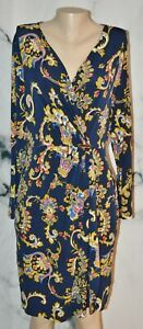 CHARTER CLUB Blue Multicolor Paisley Faux Wrap Dress Large Long Sleeves Unlined