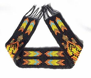 1.25x10 Inch NATIVE AMERICAN STYLE INSPIRED BLACK APPLIQUE STRIP