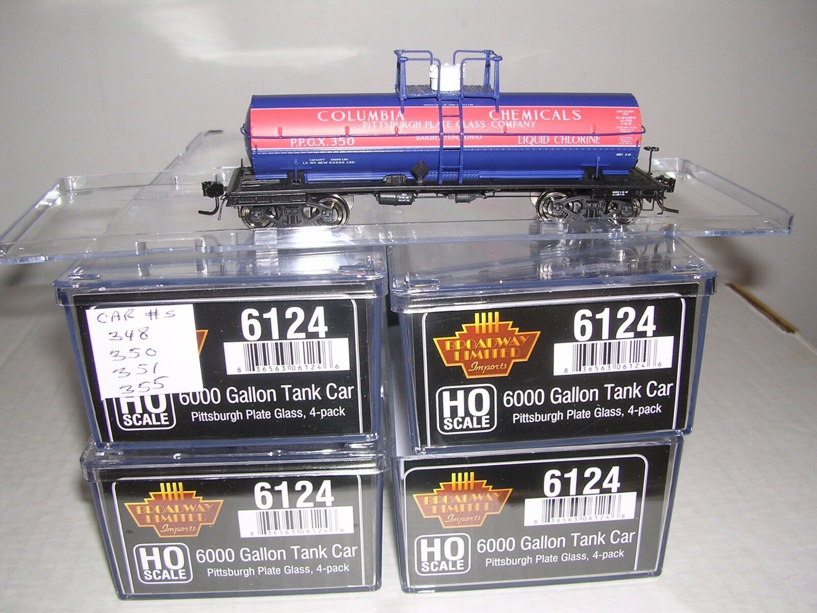 B.L.I. P.P.G.Columbia Chem. 6000 Gal. Tank Cars  w 4 Diff. Car  s H.O.1 87