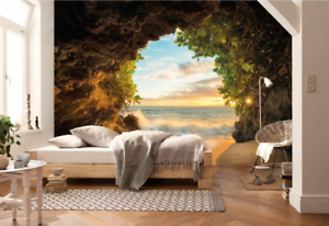 3D Steinhöhlen Strand 8 Tapete Wandgemälde Tapete Tapeten Bild Familie DE Summer