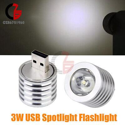 Portable Outdoor Camping Silver Mini USB LED Lamp Flashlight Spotlight 3W