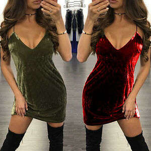 Sexy-Women-Deep-V-Neck-Bandage-Bodycon-Mini-Dress-Velvet-Cocktail-Party-Clubwear