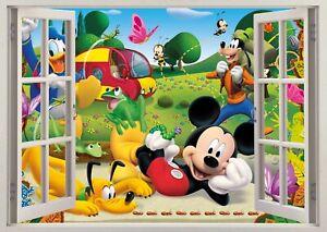 Mickey Mouse Club House Disney Kids 3D Wall Breakout Wall Sticker Bedroom Art