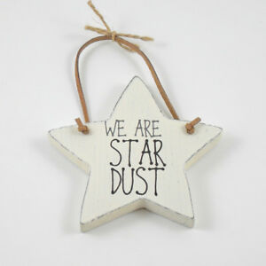 Details About We Are Star Dust Small White Wooden Hanging Star Home Decoration Cute Gift