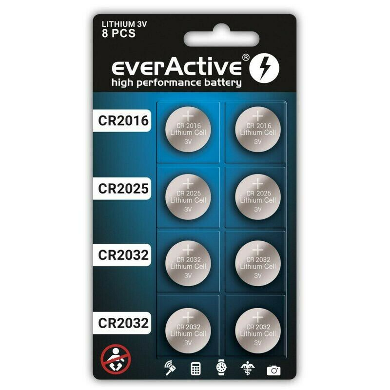 US BL338 8x everActive POWER-PACK CR2032 / CR2025 / CR2016 3V Lithium battery