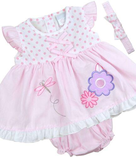 BabyPrem Bébé Filles vêtements Rose Blanc Robe Bandeau Un pantalon 0-9 mois