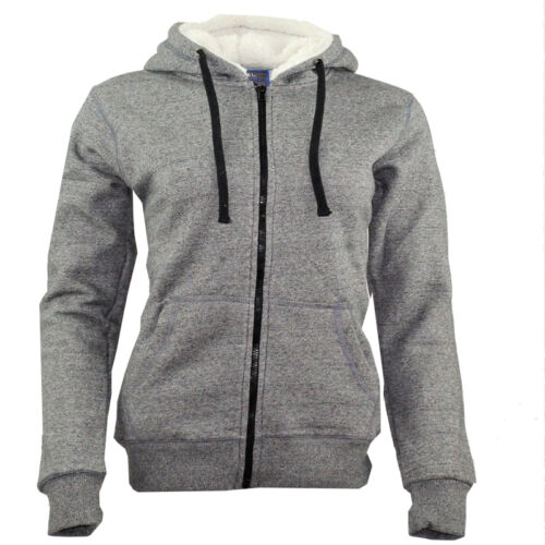 Premium Womens Ladies Zip Fleece Hoodies Borg Sherpa Lined Hood Eco Friendly
