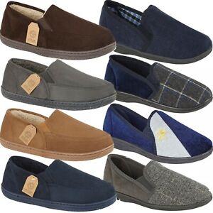 Mens-Slippers-Slip-On-Full-Slippers-Twin-Gusset-Full-Back-House-Slippers-Shoes